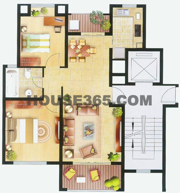 8街区10、11幢,6街区12幢两房90平米
