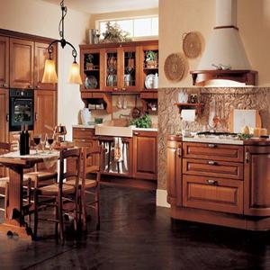 材质特点: 实木橱柜的风格多为欧洲古典风格的,其颜色主要以樱桃木色